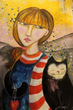 "Artjournal page with mixedmedia technics ""The Cat with its Girl"""