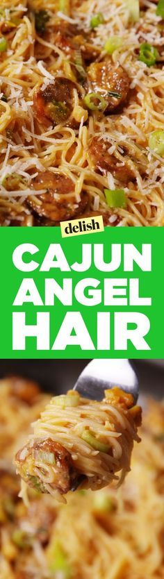 Cajun angel hair is nearly impossible to stop eating. Get the recipe at Delish.com.