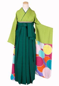 【オリジナル訪問着】黄緑地 振り丸文様/緑色袴 : 着物・衣裳らくや