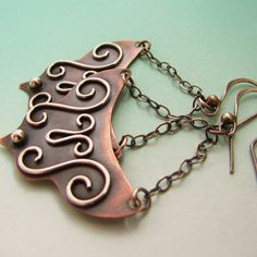 Flamenco Mixed Metal Ethnic Earrings  Copper and by Mocahete, $68.00