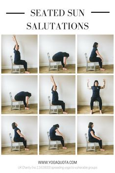 In a previous post, we shared an accessible sun salutation variation at the wall, and now we'd like to share a variation using a chair. Yin Yoga Sequence, Yoga Sequences, Health Education, Physical Education, Yoga Asanas Images, Seated Yoga Poses, Chair Yoga Poses, Chair Pose, Eagle Pose Yoga