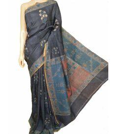 Ajrakh Pure Handloom Linen Silk Saree