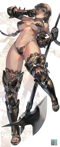 1girl aoin aqua_eyes armor axe bare_shoulders bikini_armor boots braid breasts brown_hair cleavage gauntlets gloves highres large_breasts long_hair navel original solo thighhighs twin_braids weapon
