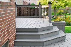Inteplast DECK in grey is the perfect match to a red brick house! Deck Stain Colors, Deck Colors, Outdoor Deck Decorating, Red Houses, Shade House, Pergola Shade, White Pergola, Pergola Patio, House With Porch
