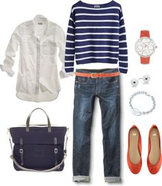Cute Weekend Casual: Nautical Navy and Orange, created by bluehydrangea Casual Outfits, Cute Outfits, Fashion Outfits, Preppy Casual, Looks Style, Style Me, Capsule Wardrobe, Spring Summer Fashion, Autumn Winter Fashion