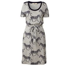 Orla Kiely: T-shirt dress in 'Zebra Crossing' print. Tie waistband and shoulder epaulette details.    Length: 40.4in (from high shoulder point)