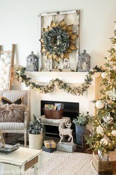 cozy and neutral holiday mantel - Neutral Christmas Decor