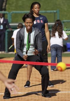 First Lady Michelle Obama has her game face on.
