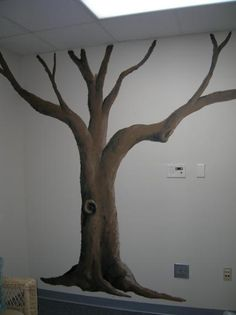 children's room tree painted on wall