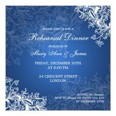 Elegant Wedding Rehearsal Cards Wedding Rehearsal Dinner Vintage Swirls Blue Card