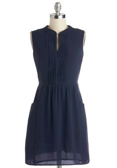 Sipping Punch Dress in Navy - Short, Blue, Solid, Pockets, Casual, A-line, Sleeveless, Better, Buttons, Variation