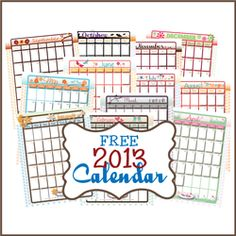 Free printable calendars from - The CreativiDee Workshop