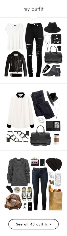 """""""my outfit"""" by shattered-masterpiece ❤ liked on Polyvore featuring Yves Saint Laurent, Forever 21, H&M, Topshop, Acne Studios, TokyoMilk, Givenchy, Uniqlo, J.Crew and Valentino"""