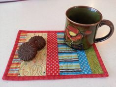 EcoFriendly Quilted Fabric Mug Rug Snack Mat by DarcyDoodleQuilts, $12.50