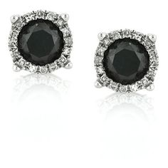 Mark Broumand 1.06ct Fancy Black Round Brilliant Cut Diamond Stud... (£445) ❤ liked on Polyvore featuring jewelry, earrings, accessories, stud earrings, white, diamond jewelry, white diamond earrings, 14 karat gold diamond earrings and diamond earrings