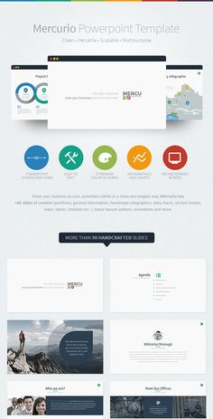 Mercurio is a clean, versatile, scalable and multipurpose PowerPoint Template to present your business to potentials clients in a elegant way, Mercurio has +90 slides of content (portfolios, general information, handmade infographics, data charts, section breaks, maps, tables, timeline etc. ), many layouts options, animations and more. This presentation was made it slide by slide, not based on master slides. Please be sure to install the fonts before open the presentation.