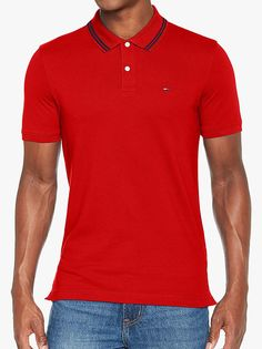 00015567 The Tommy Jeans Polo Shirt In Racing Red Men's Regular Fit Short Sleeve  Polo From Tommy
