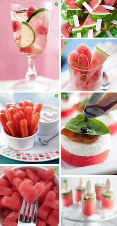 1. Sangria Splash  2. Watermelon Pops  3. Watermelon Granita,  4. Watermelon Dip  5. Watermelon and Goat Cheese Bites  6. Watermelon Heart Shaped Bites  7. Watermelon Margarita Popsicles