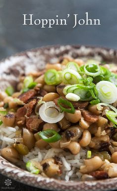 Hoppin' John ~ A classic Southern dish to celebrate New Year's. The black-eyed peas are for good fortune in the coming year.  ~ SimplyRecipes.com
