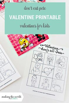 Don't Eat Pete Free Valentine Printables for classroom party games and to hand out to friends! Valentines For Kids, Valentine Day Crafts, Free Printable Gift Tags, Free Printables, Teacher Cards, Candy Cards, Neighbor Gifts, Teacher Appreciation, Party Games