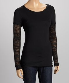 Take a look at the Black Burnout Layered Tee - Women on #zulily today!