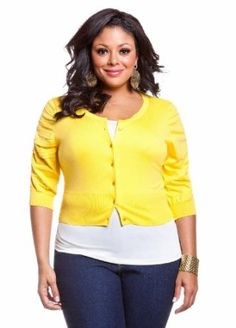 Ashley Stewart Women's Everyday Essentials Sleeve Cropped Cardigan Lemon Light 18/20 Ashley Stewart. $22.13