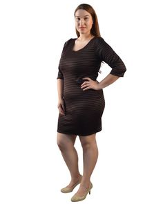 Plus Size Stripped Dress with Half Sleeves-id.29226