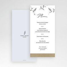 Menu de mariage très épuré pour toute sorte de thème de mariage : printanier, bohème, écolo, provençal... #mariage #menumariage #mariagechampêtre