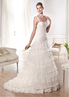 ELEGANT TULLE A-LINE SWEETHEART NECKLINE NATURAL WAISTLINE WEDDING DRESS IVORY WHITE LACE BRIDAL GOWN HANDMADE CUSTOM