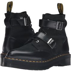 Dr. Martens Masha Creeper Boot (Black Polished Smooth) Women's Lace-up... (210 AUD) ❤ liked on Polyvore featuring shoes, boots, laced up boots, lace up platform boots, black shiny boots, black lace up shoes and black boots