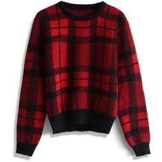 Chicwish Comfy Red Plaid Check Sweater ($53) ❤ liked on Polyvore featuring tops, sweaters, multi, checkered sweater, zip up sweater, red plaid top, vintage oxfords and ribbed top