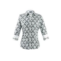 Elena Shirt Black and white laurel print with embroidered cuff