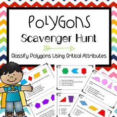 """This polygons activity is perfect for cooperative learning, math workshop, or early finishers. Simply print, cut, and tape the problems around your room.  Give your students the record sheet and let them """"hunt"""" around the room for the problems.  Once they find the problem they solve the problem on their record sheet."""