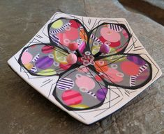 Modern floral colorful brooch, polymer clay