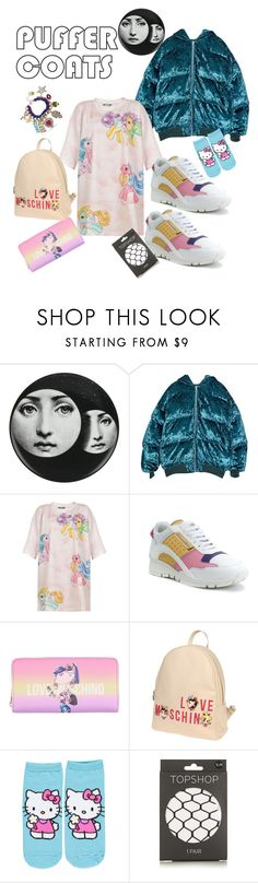 """my cartoon side"" by kiwwiiii ❤ liked on Polyvore featuring Fornasetti, Moschino, Dsquared2, Love Moschino, Forever 21, Topshop and Betsey Johnson"