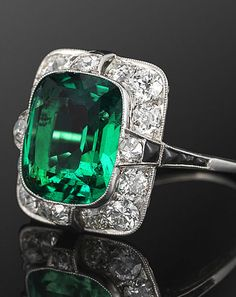 Fred Leighton Art Deco Emerald and Diamond Ring