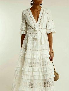 Dress boho maxi white lace New Ideas Trendy Dresses, Casual Dresses, Fashion Dresses, Summer Dresses, Estilo Fashion, Boho Fashion, Fashion Design, Ivory Dresses, Cotton Dresses