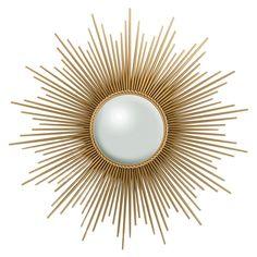 Sunburst mirror in gold by Global Views.