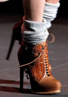 Lace up high heal ankle boots                                                                                                                                                                                 More