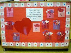 Preschool Playbook: Bulletin Board for Februrary February Bulletin Boards, Preschool Bulletin Boards, Bullentin Boards, Preschool Valentine Crafts, Valentine Ideas, Preschool Ideas, Valentines Day Bulletin Board, Nursery School, Classroom Decor