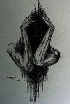 Anxiety by ArtistKS. on Anxiety by ArtistKS. Creepy Drawings, Dark Art Drawings, Creepy Art, Pencil Art Drawings, Art Drawings Sketches, Art Triste, Art Sinistre, Art Du Croquis, Arte Obscura