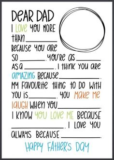 I adore fill in the bank letters for kids. Here's a great one for Father's Day, which is coming up on June this year. Your school age child can have fun filling this out themselves… Diy Father's Day Gifts, Father's Day Diy, Fathers Day Crafts, Happy Fathers Day, Fathers Day Letters, Fathers Day Ideas For Husband, Fathers Dat, Daddy Gifts, Gifts For Dad