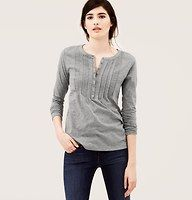Pintucked Eyelet Henley Tee - We're totally charmed by the just-right details of this not-too-girly cotton tee—starring an alluring mix of eyelet trim and pintucked accents. Scoop neck. Long sleeves. Henley button placket.
