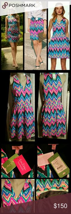 Lilly Pulitzer Sherlynn Dress Hearts & Flutter NWT Lilly Pulitzer New with tags  Lovely midi dress Tailored darts Bright multi-colored  Chevron pattern Sleeveless  Collar with Vneck opening Front gold 5 buttons Skirt gather all a round Side hidden pockets Fully lined Size 10 Pit to pit measures 19 inches Length to waist measures 17.5 inches Waist measures 30 inches Length from waist measures 20 inches Shell 80% cotton 40% viscose Lining 100% polyester  Made in China Lilly Pulitzer Dresses…