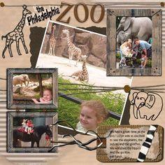 zoo scrapbook page layouts Vacation Scrapbook, Disney Scrapbook, Scrapbook Cards, Bridal Shower Scrapbook, Baby Boy Scrapbook, Scrapbook Examples, Scrapbook Page Layouts, Multi Photo, Photo Retouching