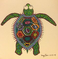 Original 6x6 Colorful Doodled Turtle #art #drawing #turtle #shell #green #reptile