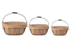 Baskets w/ Linen Liner, Asst. of 3
