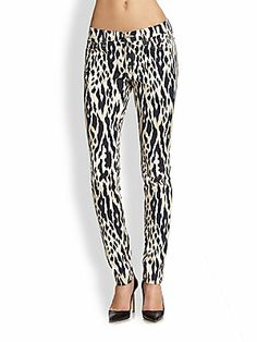 7 For All Mankind Animal-Print Skinny Jeans