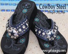 Dallas Cowboys Inspired Sparkle Flip Flops Cowboy by GSHDesigns