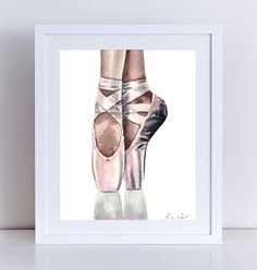 En Pointe Ballerina Ballet Pink Satin Pointe Shoe Giclee Print of Watercolor Painting 8 x 10, 11 x 14 inches Fine Art Poster Opera Classical Toe Dancer Paris Repetto Flats Gift for Her. Giclee print of original watercolor painting of a ballerina en pointe, in a beautiful pair of whisper pink satin toe shoes, the perfect shade of blush, and the perfect way to go up en pointe! Tied with a satin ribbon, these shoes are as beautiful as flowers and last about as long as the bloom of a rose....